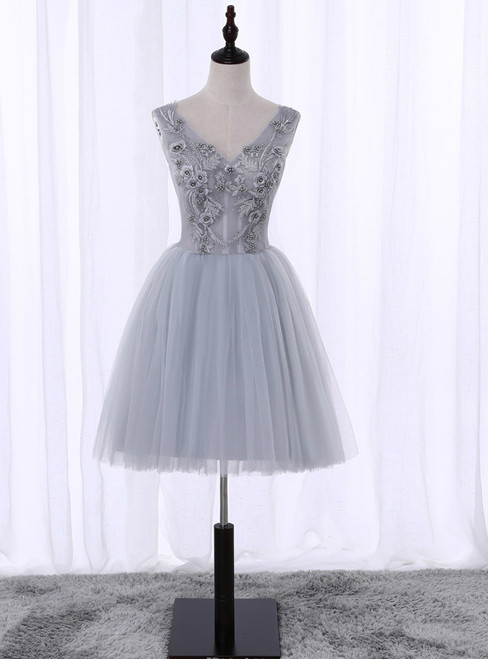 In Stock:Ship in 48 hours Gray V-neck Knee Length Homecoming Dress