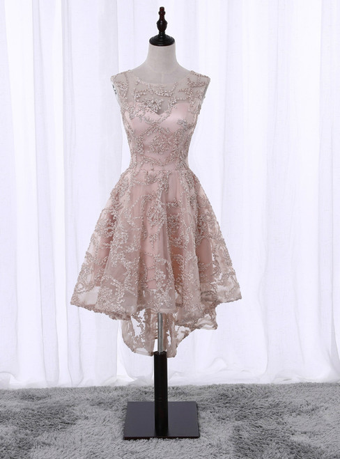 In Stock:Ship in 48 hours Hi Lo Champagne Homecoming Dress