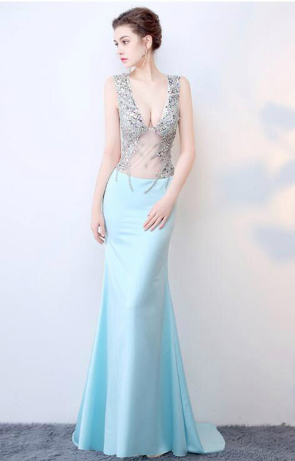 In Stock:Ship in 48 hours Mermaid Blue Prom Dress