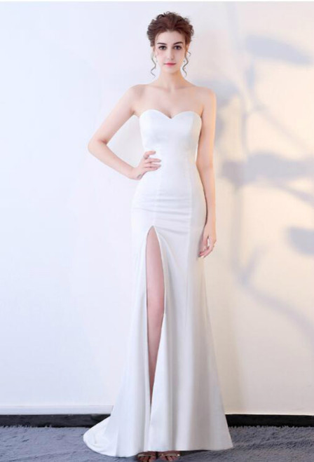 In Stock:Ship in 48 hours Mermaid White Prom Dress
