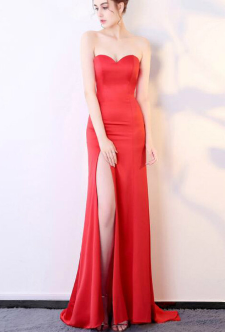 In Stock:Ship in 48 hours Mermaid Red Prom Dress