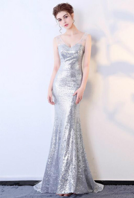 In Stock:Ship in 48 hours Mermaid Sequins Prom Dress