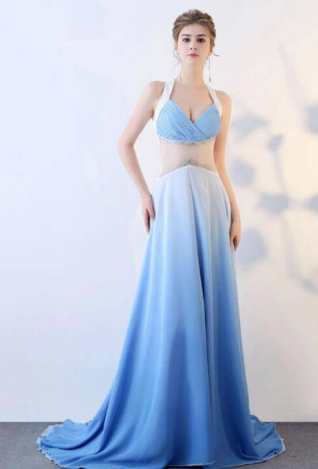 In Stock:Ship in 48 hours A-Line Chiffon Prom Dress