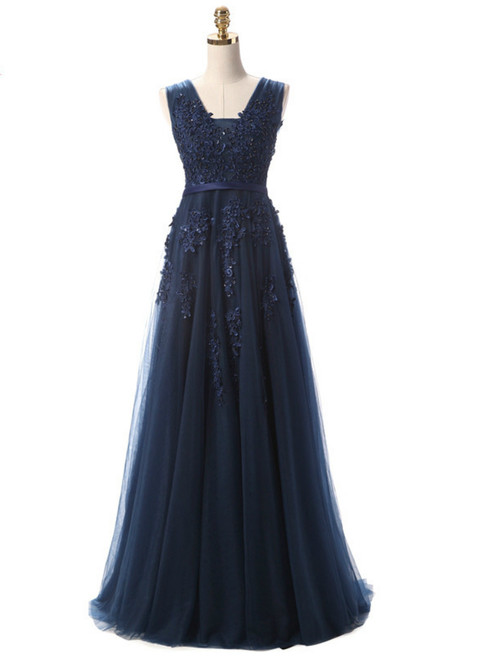 In Stock:Ship in 48 hours Navy Blue V-neck Appliques Prom Dress
