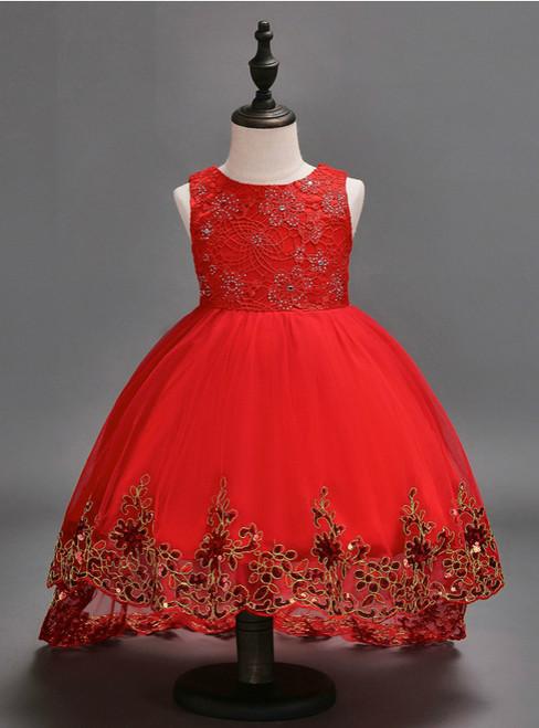 In Stock:Ship in 48 hours Hi Lo Red Girl Dress