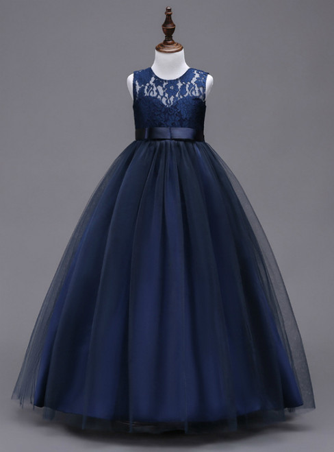 In Stock:Ship in 48 hours A-line Blue Big Girl Dress
