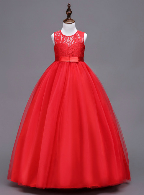 In Stock:Ship in 48 hours A-line Red Big Girl Dress
