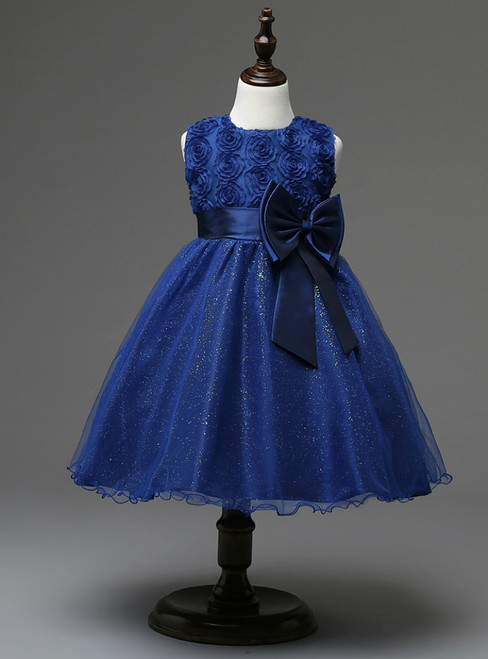 In Stock:Ship in 48 hours Blue Bow Girl Dress