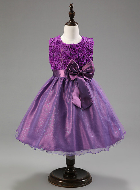 In Stock:Ship in 48 hours Purple Bow Girl Dress