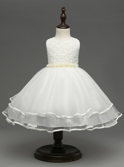 In Stock:Ship in 48 hours White Pearls Girl Dress