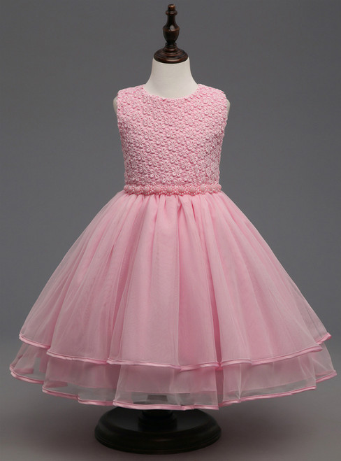 In Stock:Ship in 48 hours Pink Pearls Girl Dress