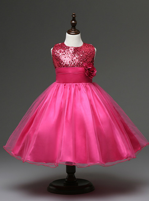 In Stock:Ship in 48 hours Fuschia Flower Girl Dress