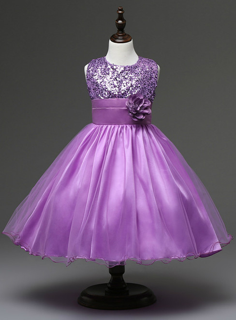 In Stock:Ship in 48 hours Purple Flower Girl Dress