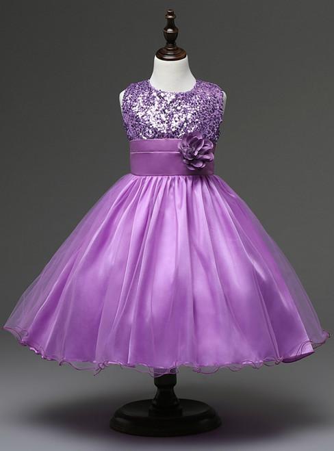 In Stock:Ship in 48 hours Purple Flower Girl Dress