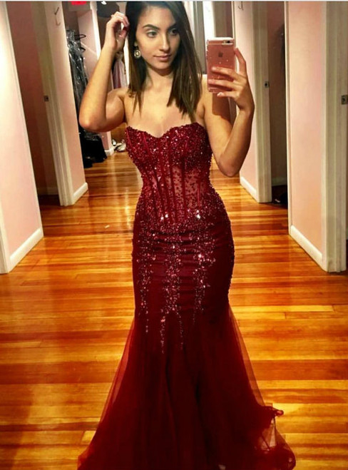 Burgundy Mermaid Beads Sweetheart Appliques Prom Dress