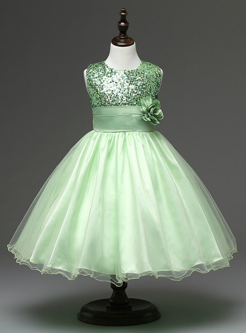 In Stock:Ship in 48 hours Green Flower Girl Dress
