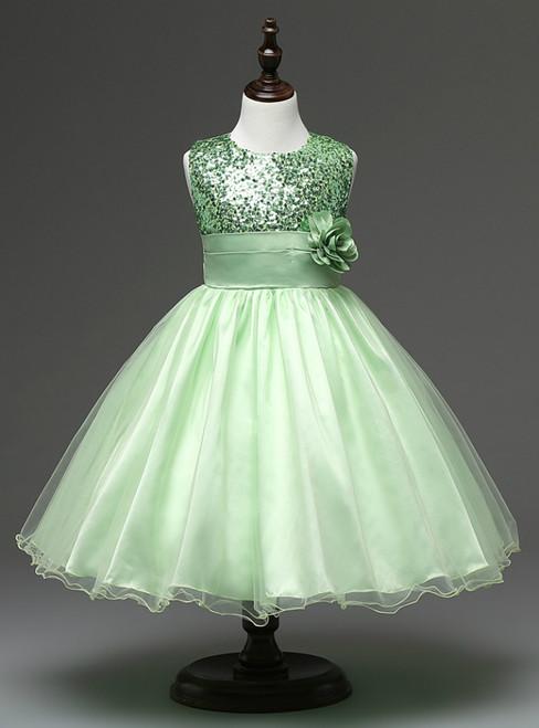 In Stock:Ship in 48 hours Green Flower Girl Dress
