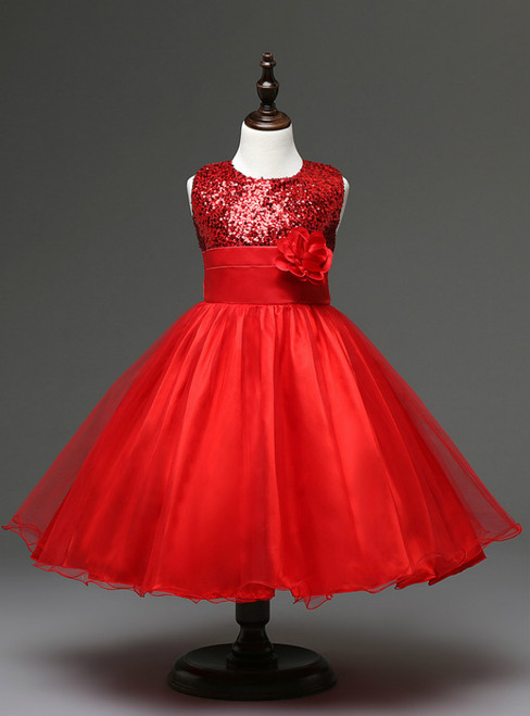 In Stock:Ship in 48 hours Red Flower Girl Dress