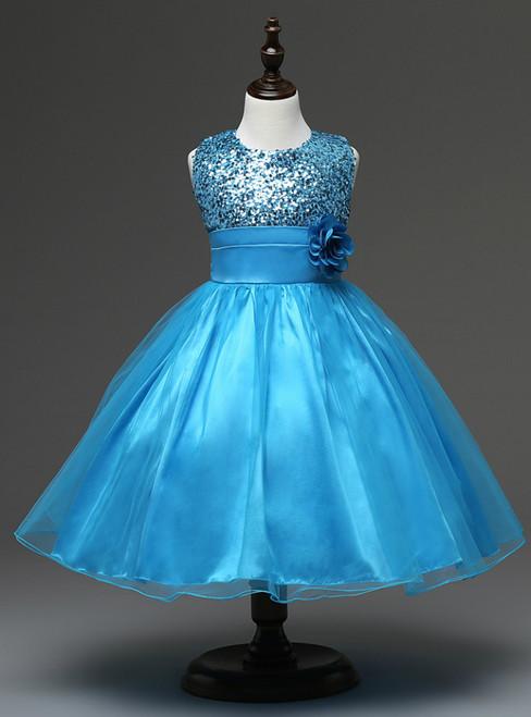 In Stock:Ship in 48 hours Blue Flower Girl Dress