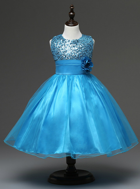 In Stock:Ship in 48 hours Blue Flower Girl Dress