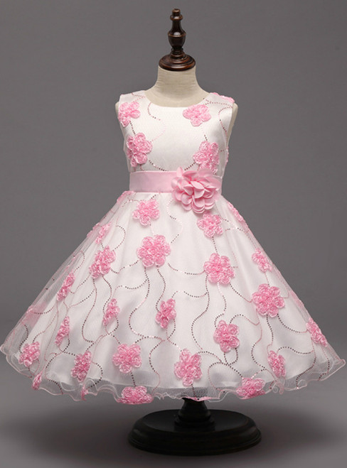 In Stock:Ship in 48 hours Pink Flower Tulle Girl Dress