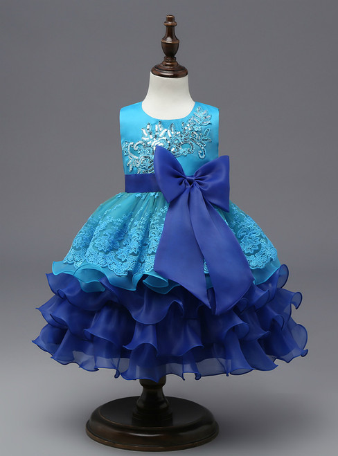 In Stock:Ship in 48 hours Blue Big Bow Girl Dress