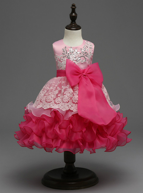 In Stock:Ship in 48 hours Pink Big Bow Girl Dress