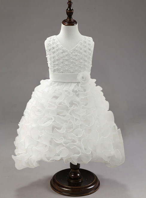 In Stock:Ship in 48 hours White Organza Girl Dress