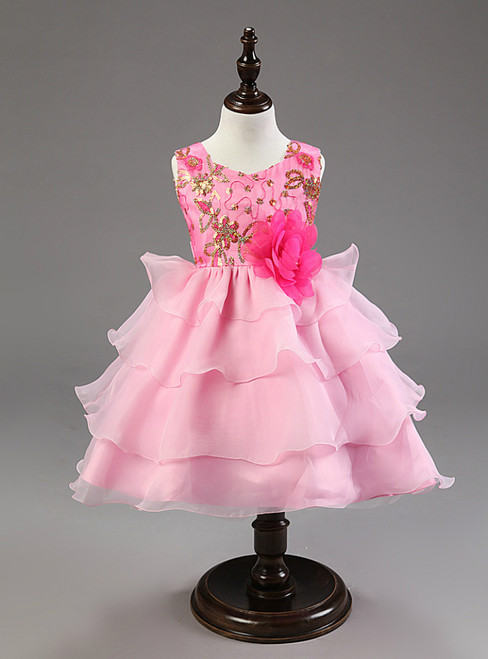 In Stock:Ship in 48 hours Beading Pink Girl Dress