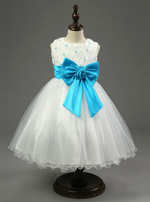 In Stock:Ship in 48 hours Blue Bow Flower Girl Dress