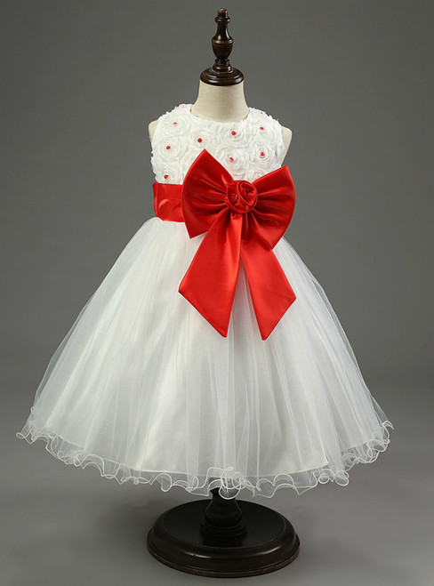 In Stock:Ship in 48 hours Red Flower Bow Girl Dress