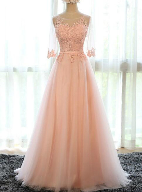 In Stock:Ship in 48 hours Pink Long Bridesmaid Dress