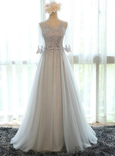 In Stock:Ship in 48 hours Gray Half Sleeve Bridesmaid Dress