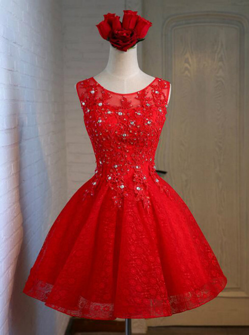 In Stock:Ship in 48 hours Red Knee Length Dress