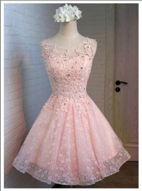 In Stock:Ship in 48 hours Pink Appliques Homecoming Dress