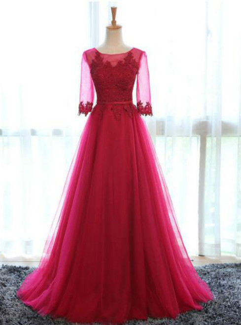In Stock:Ship in 48 hours Red Tulle Bridesmaid Dress