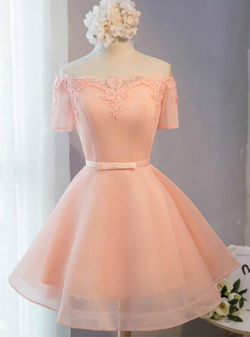 In Stock:Ship in 48 hours Orange Organza Homecoming Dress