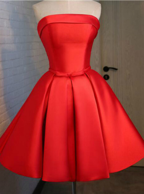 In Stock:Ship in 48 hours Red Satin Strapless Dress