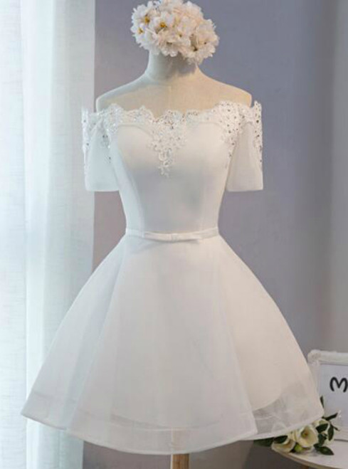 In Stock:Ship in 48 hours Short Sleeve White Homecoming Dress