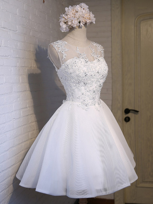 In Stock:Ship in 48 hours White Organza Homecoming Dress