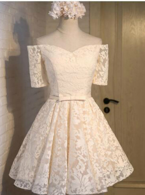 In Stock:Ship in 48 hours Yellow Lace Homecoming Dress