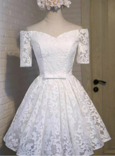In Stock:Ship in 48 hours White Lace Homecoming Dress