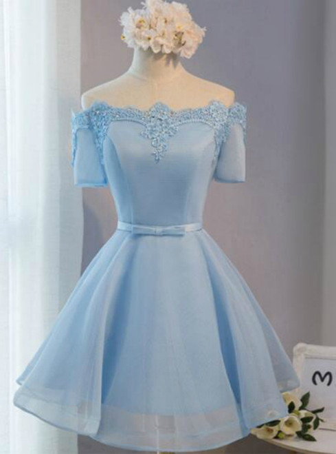 c21e1de465e5 In Stock Ship in 48 hours Off The Shoulder Blue Homecoming Dress