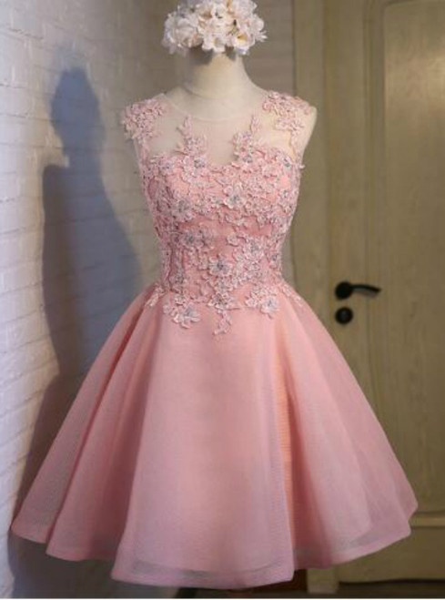 In Stock:Ship in 48 hours Pink Organza Homecoming Dress