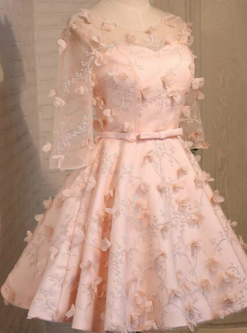 In Stock:Ship in 48 hours Pink Half Sleeve Bridesmaid Dress