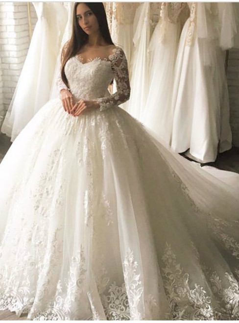 Long Sleeves Wedding Dress,Lace Bridal Dress