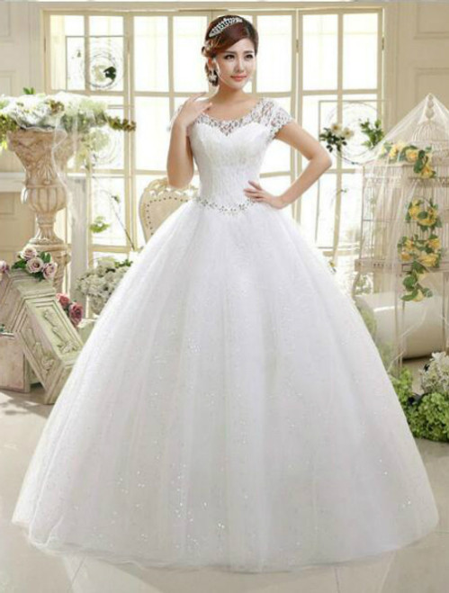 In Stock:Ship in 48 hours Ball Gown Scoop Tulle Wedding Dress