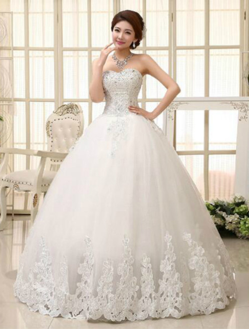 In Stock:Ship in 48 hours Ball Gown White Wedding Dress