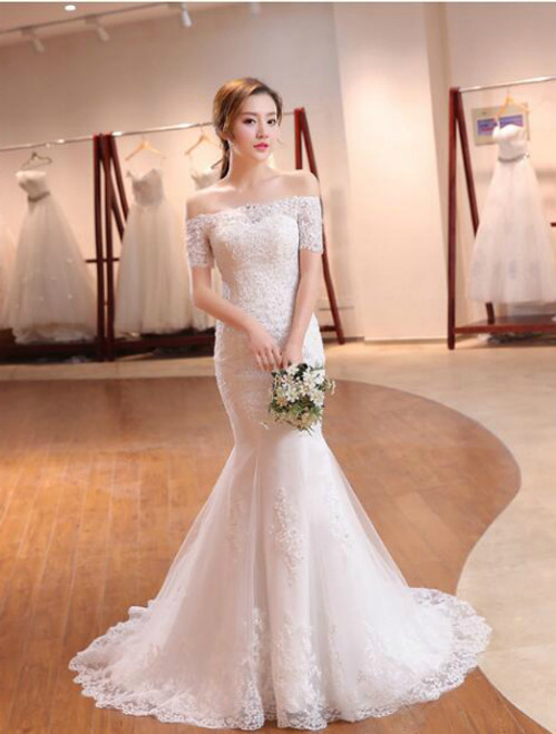 In Stock:Ship in 48 hours Lace Sheath Wedding Dress