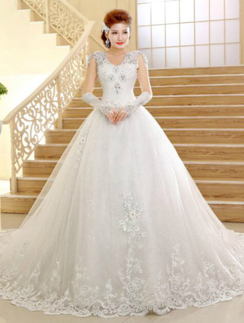 In Stock:Ship in 48 hours Ball Gown Appliques Wedding Dress